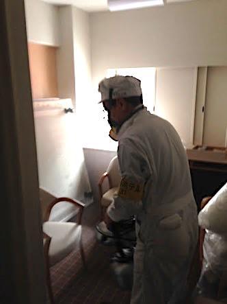 ULV機による室内全域への空間噴霧処理