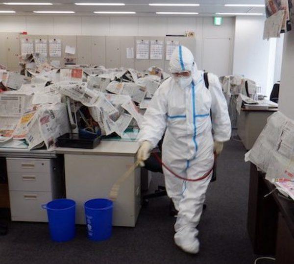 某社オフィスビル 緊急臨時殺菌消毒施工サムネイル